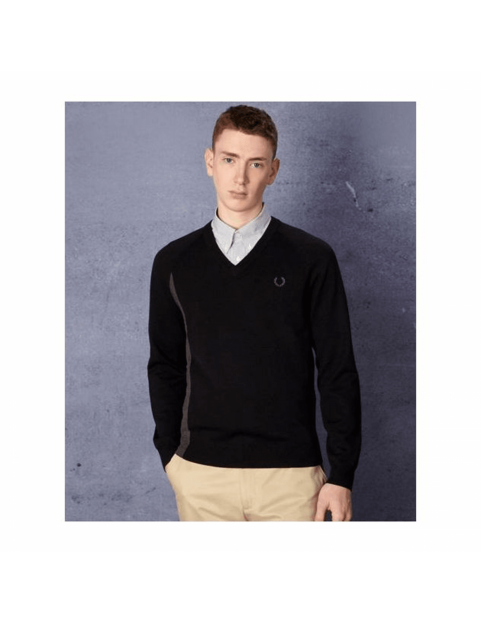 Pull Fred perry laurel Wreath bicolore noir K1144-186
