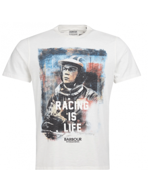 Tee shirt Barbour Steve Mcqueen Racing is life whisper white
