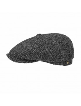 Casquette Stetson hatteras herringbone en laine vierge anthracite noire 6840502-331