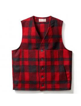 Gilet FILSON mackinaw en laine black Red 11010055