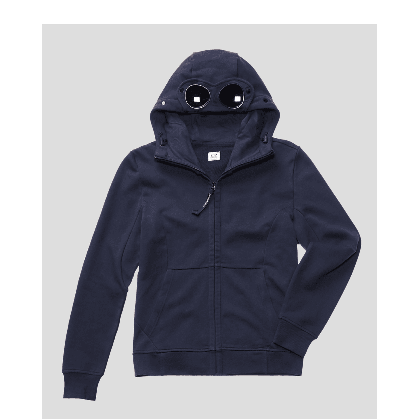 Sweat CP Company diagonal fleece open hooded navy