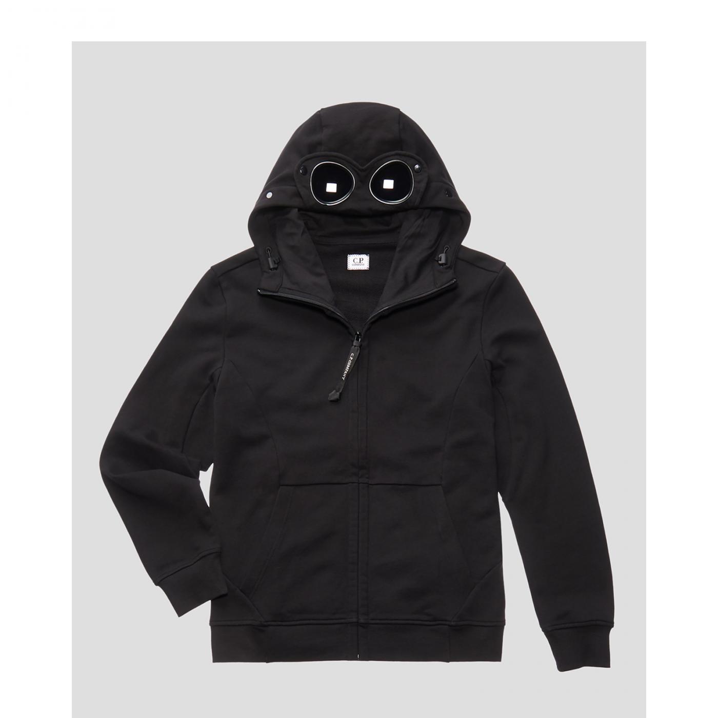 Sweat CP Company  diagonal fleece open hooded black